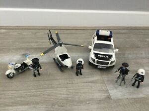 Playmobil police bundle car,bike and helicopter