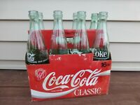 Vintage Coca Cola Classic 8 Pack Bottles 16 fl oz Cardboard Carry Case Pack