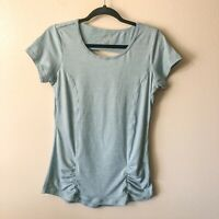 Gaiam Women's SMALL Short Sleeve Shirt Top Athletic Workout Yoga Blue Ruch