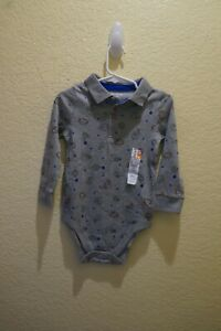 GARANIMALS-GRAY SPORTS GRAPHIC LONG SLEEVE POLO LOOK BODYSUIT SIZE 24 MONTHS