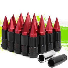 JDM STEEL RED M12X1.5 22MM OD SPIKED CAP 75MM RIM LUG NUTS 20PCS/SET+ADAPTER