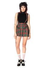 Green Tartan Gothic Emo Rockabilly High Life Pinafore Mini Skirt BANNED Apparel