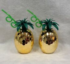 2 Pineapple Disco Cup Gold Straw Summer Hawaiian Luau Party Novelty Gift Favor