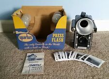 Vintage Spartus Press Flash Camera w/ Original Box, 4 Bulbs + Instructions