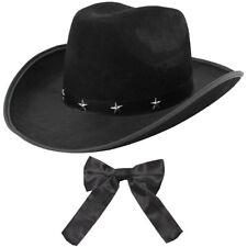 BLACK STUDDED COWBOY HAT AND WESTERN BOW TIE SHERIFF WILD WEST FANCY DRESS