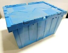 Plastic Storage Tote Hinged Lid Storage 21-7/8 x 15-1/4 x 12-7/8 BLUE Box Bin