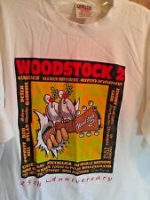 XL white VINTAGE T Shirt WOODSTOCK 94 concert 25TH ANNIVERSARY rock POP jazz NY