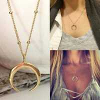 2019 Horn Charm Necklace Crescent Moon Pendant Gold s Chain Bead Jewelry Ch K8I8