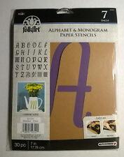 "Plaid Folkart Paper Stencils ~ Alphabet & Monogram ~ 7"" Script ~ NEW"