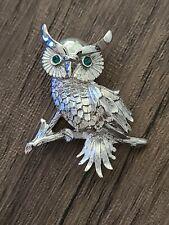 Tone Green-Eyed Owl Brooch Charming Vintage Monet Silver