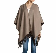 NWOT Authentic PORTOLANO Brown Leather Fringe 100% Wool RUANA Wrap Poncho