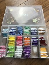 Lot of DMC Embroidery Floss Thread 68 Carded Colors and Plastic Case