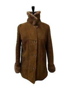 Ladies Morlands Vtg Sheepskin Coat Size 12 EU40 Specialist Dry Cleaned