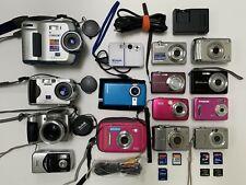Huge Digital Camera Lot! 14 cameras + 7 memory cards + 1 charger