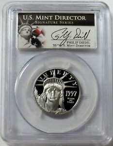 1997 W PLATINUM $50 PROOF AMERICAN EAGLE DIEHL SIGNED 1/2 OZ PCGS PF 69 DCAM