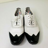 FootJoy LoPro Collection Wingtip Golf Leather White Black Womens 7.5M Shoes