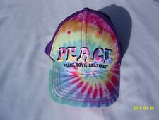 Youth Tie Dye Peace Love & Realtree Hat Adjustable Snap Back Cap Embroidered