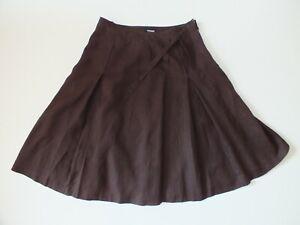 """100%LINEN 'YORN""""  Skirt   Sz XL 40  WOMEN brown zip"""