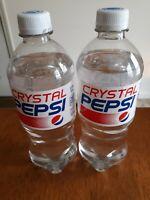 *Rare 2 CLEAR CRYSTAL PEPSI 20oz Bottles expired Nov. 12 2018 still carbonated!!