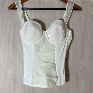Gorgeous Marie Jo Ivory off-white Bustier Waist Length Corset Bra Floral Design