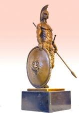 Bronzeskulptur-Bronze Krieger- Spartaner mit Speer und Schild auf Marmorsockel