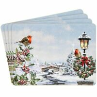 Christmas Robins Snow Winter Scene Placemats - Set of 4 Dining Table Place Mats