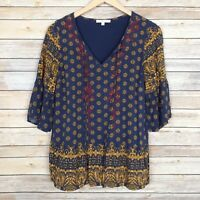 Skies Are Blue Womens Top Boho Long Sleeve Tie Front Multicolor Print Size Small
