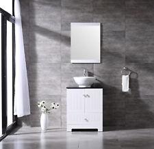 "24"" Bathroom Vanity Pvc Cabinet Single Ceramic Vessel Sink Faucet Combo Set"