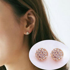 1Pair New Fashion Women Lady Elegant circle Crystal Rhinestone Ear Stud Earrings