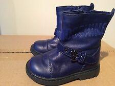 Niños Niñas Azul MOSCHINO Cuero Botas Talla 20 EU UK Size 4 RRP £ 155