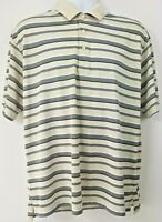 Daniel Cremieux Men's Polo Shirt Sz L Beige Tan Gray Striped Casual Button Down