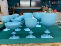 Vintage French Portieux Vallerysthal. Blue, 8 Wine, 8 Water, 6 Dessert Glasses.