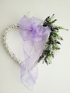 Heart Wicker For Front Door Spring Lavender Purple Bush Wreath With Bow UK