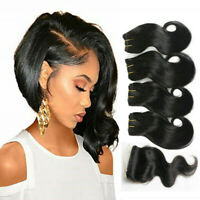 Natural black tissage bresilien en lot avec closure 9A cheveux humains bob weave