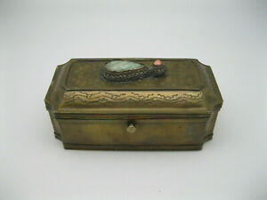 Antique Chinese Brass signed Box w Coral & Jade