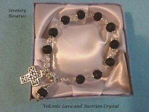 Beautiful Rosary Bracelet Handcrafted in Volcanic Lava and Austrian Crystal
