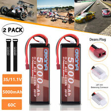 2x 11.1V 5000mAh 3S 60C Lipo Battery Deans for RC Car Truck Buggy Traxxas Redcat