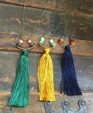 Anthropologie Green Tassel Necklace Curved Gold Brass Arc Labradorite Pink Jade