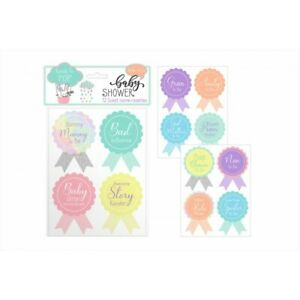 12 Name Rosette Baby Shower Party Guests Family Member Gran Nan Aunt To Be Badge