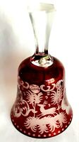 Rare Cut to Clear Ruby Crystal Glass Bell Engraved Deer & Avian, Ornate Decor