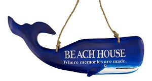 Big Blue Whale Beach House Where Memories Are Made Wall 23 Inch Plaque