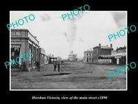 OLD LARGE HISTORIC PHOTO OF HORSHAM VICTORIA, VIEW OF THE MAIN STREET c1890