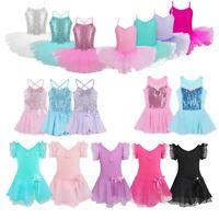 Girl Gymnastics Ballet Dance Dress Kid Ballerina Skirt Leotard Dancewear Costume