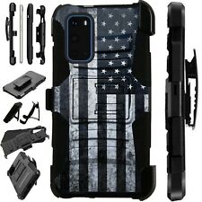 Luxguard For Samsung Galaxy S20 Note 10 Holster Phone Case US FLAG GRAY