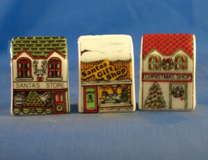Birchcroft Thimbles -- Set of Three -- Miniature House Shape - Christmas Shops
