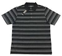Adidas Golf Puremotion Polo Shirt Mens Short Sleeve Textured Stripe Black White