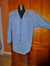 VTG 80s Blue Denim Cotton Jean Gold Studs Jeweled Disco Jacket Blazer Coat C123