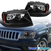 For 99-04 Jeep Grand Cherokee Headlights Black W/ Corner Signal Lamps Pair L+R