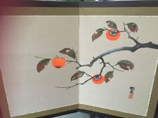 Vint Oriental Asian Silk Screen Hand Painted Picture *