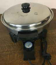 """SALAD MASTER 12"""" Electric Skillet Fry Pan Model 7256 w/ Vapo Lid and Oil Core"""